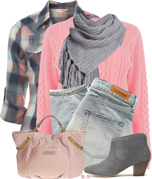 Pink Cable Jumper & Check Shirt Fall Outfit outfitspedia