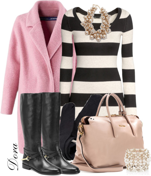 Pink Coat and Sweater Dress Fall Winter Outfit outfitspedia