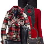 Plaid Ruffle Collar Wool Coat Fall Outfit
