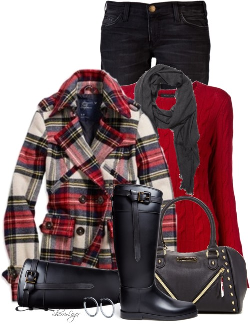 Plaid Ruffle Collar Wool Coat Fall Outfit outfitspedia