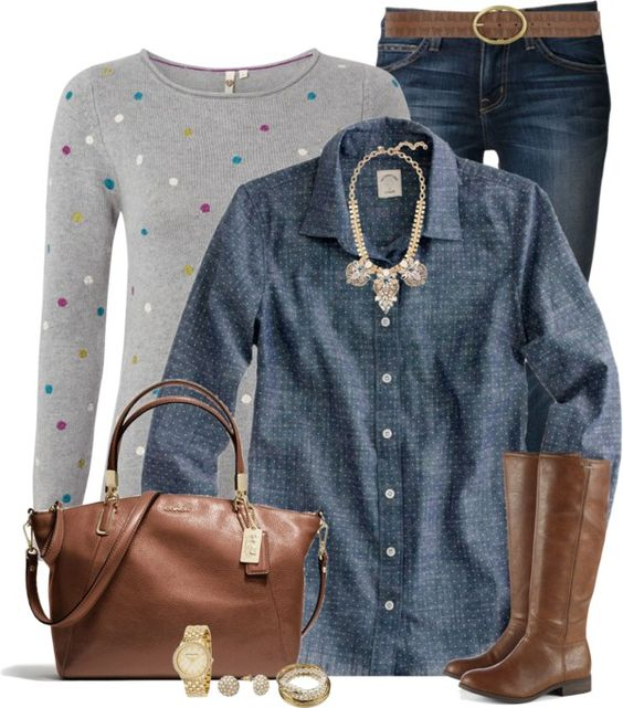 Polkadot Jumper Casual Fall Outfit outfitspedia