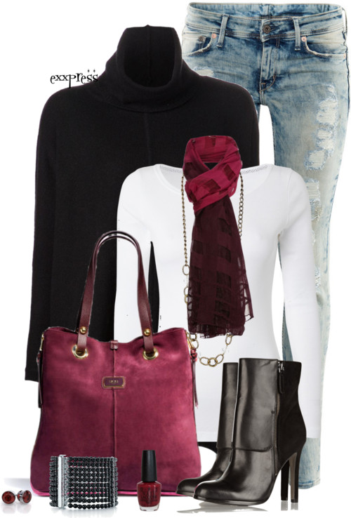 Poncho Sweater Burgundy Pop Fall Outfit outfitspedia