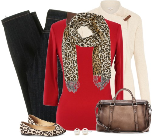 Pretty Fall Outfit With Leopard Scarf outfitspedia