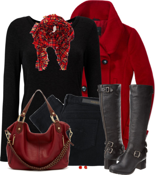 Red Hot Howell Wool Coat Fall Outfit outfitspedia