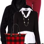 Red and Black Easy Tote Casual Fall Outfit