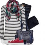 Scarf, Converse, Striped Shirt Casual Outfit
