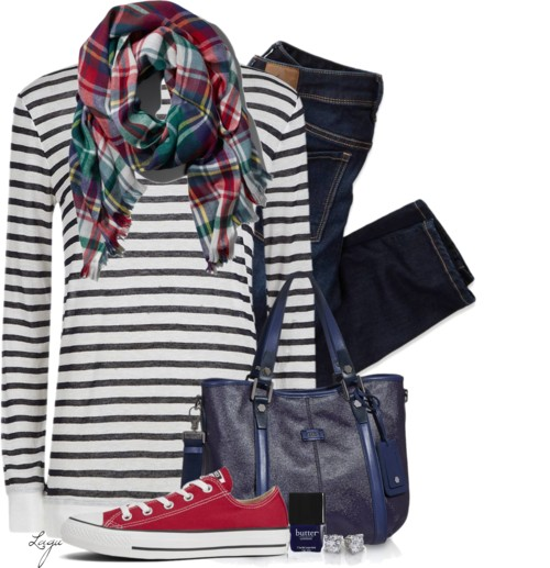 Scarf, Converse, Striped Shirt Casual Outfit outfitspedia