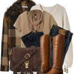 Shearling-Trimmed Wool-Blend Jacket Winter Outfit