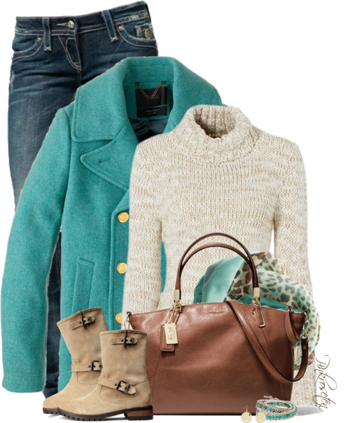 Turquoise Majesty Peacoat Fall Outfit outfitspedia