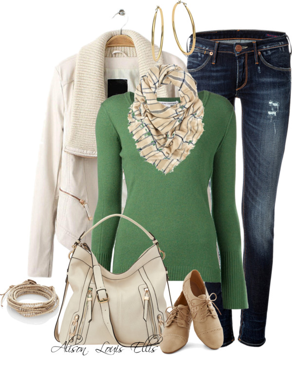 Autumn Cashmere V-Neck Sweater Fall Outfit outfitspedia