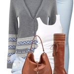 Baby Blue and Cognac Spring Outfit