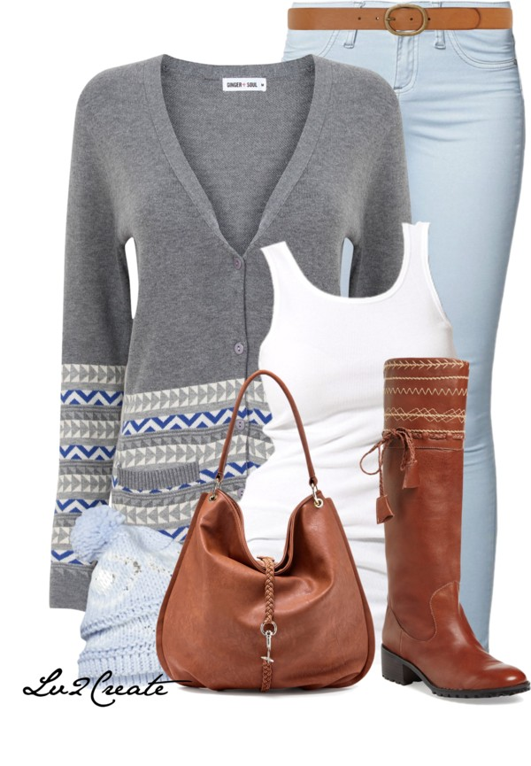 Baby Blue and Cognac Spring Outfit outfitspedia
