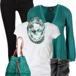 Black Jeans, White Shirt and Turquoise Cardigan Spring Outfit