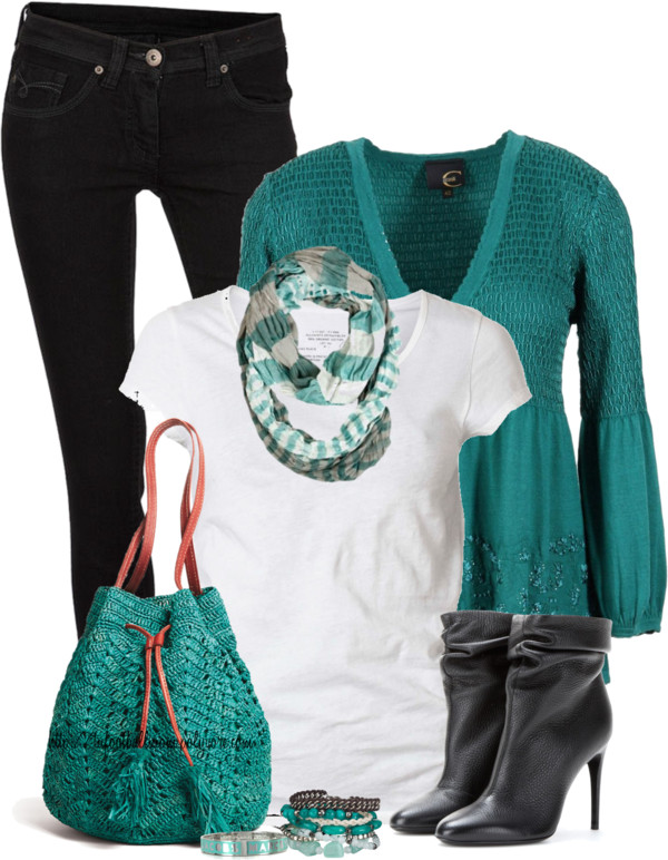 Black Jeans, White Shirt & Turquoise Cardigan Spring Outfit outfitspedia