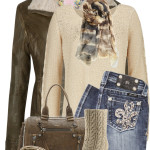 Blingy Jeans With Shearling Leather Jacket Fall Outfit