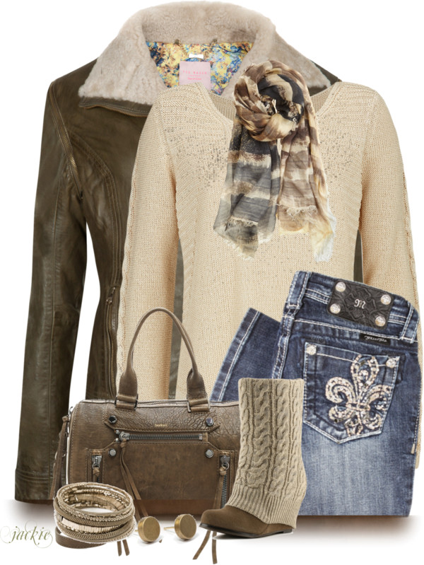 Blingy Jeans With Shearling Leather Jacket Fall Outfit outfitspedia