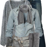 Blue and Gray Casual Fall Outfit