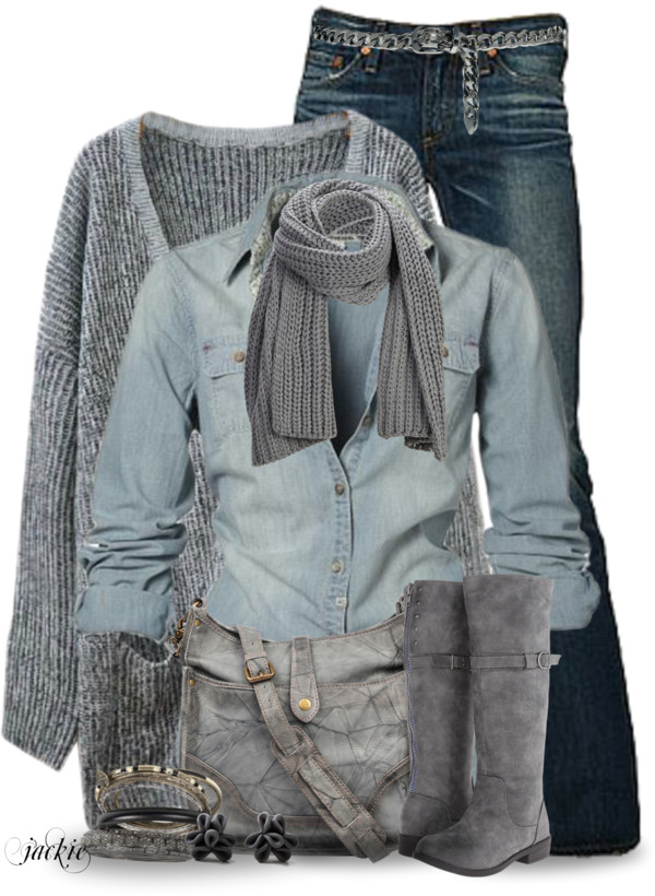 Blue and Gray Casual Fall Outfit outfitspedia