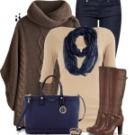 Brown Fall Poncho Outfit