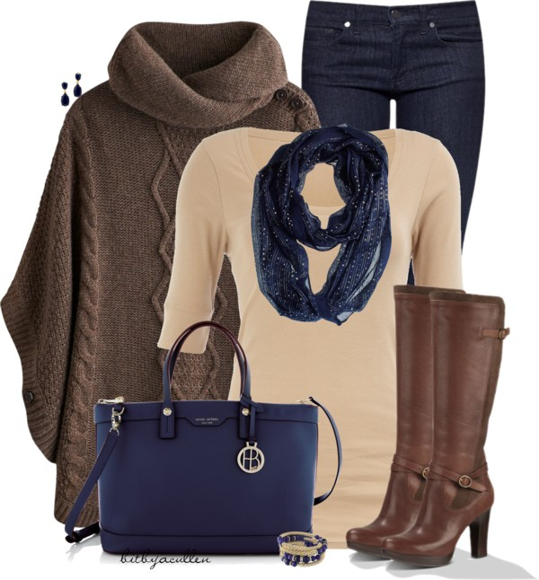 Brown Fall Poncho Outfit outfitspedia