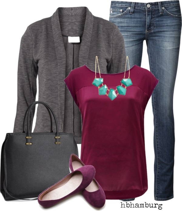 Burgundy Blouse Casual Weekend Outfit outfitspedia