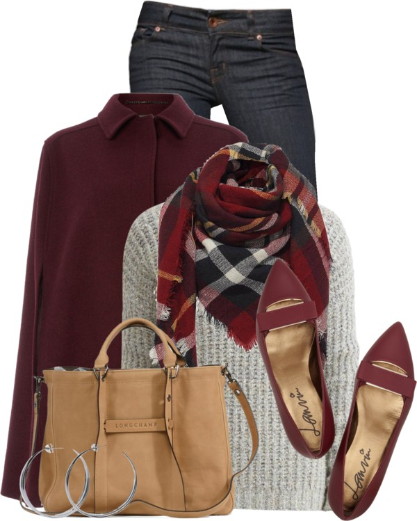 Cape Coat With Flat Shoes Fall Outfit outfitspedia