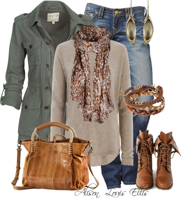 Casual Fall Outfit With Military Jacket Outfitspedia