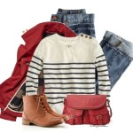 Casual Red Pea Coat Fall Outfit