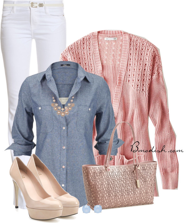 Chambray Shirt Cute Spring Outfit outfitspedia