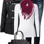 Charcoal & Raspberry Fall Winter Outfit