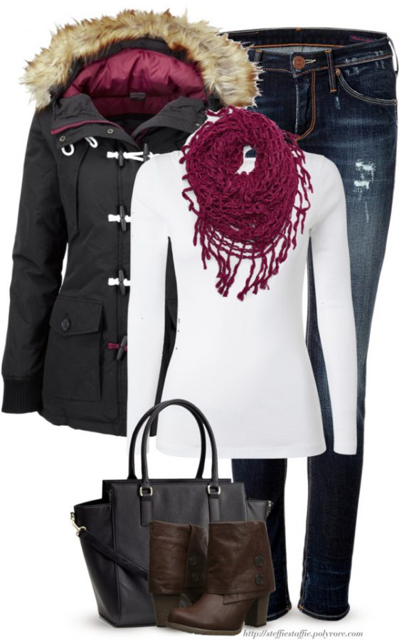 Charcoal & Raspberry Fall Winter Outfit outfitspedia