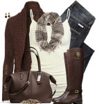 Chocolate Brown and Cream Casual Fall Outfit