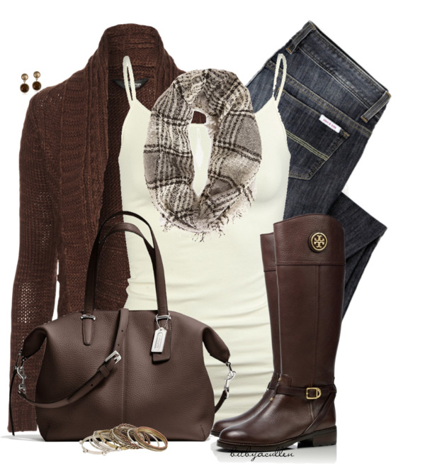 Chocolate Brown and Cream Casual Fall Outfit outfitspedia
