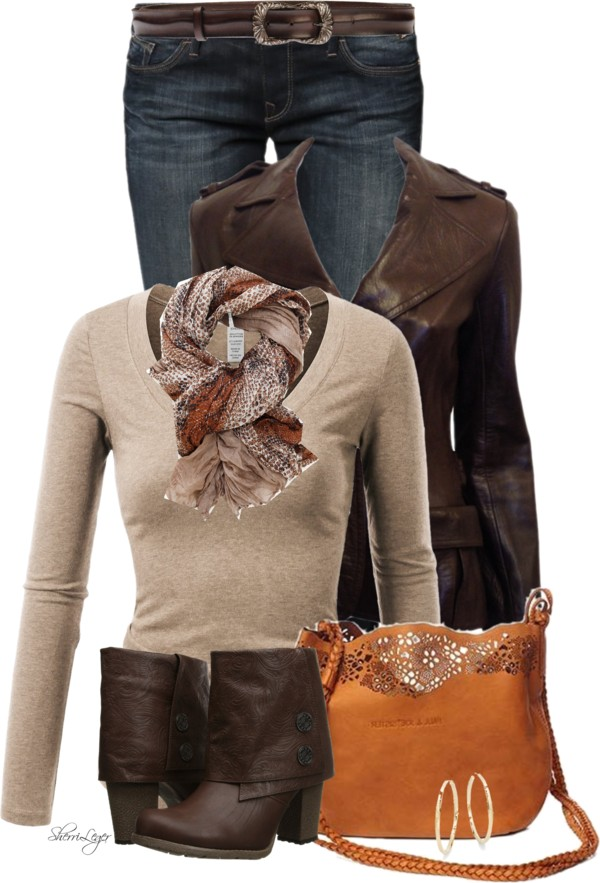 Chocolate Cowboy Leather Jacket Stylish Fall Outfit outfitspedia