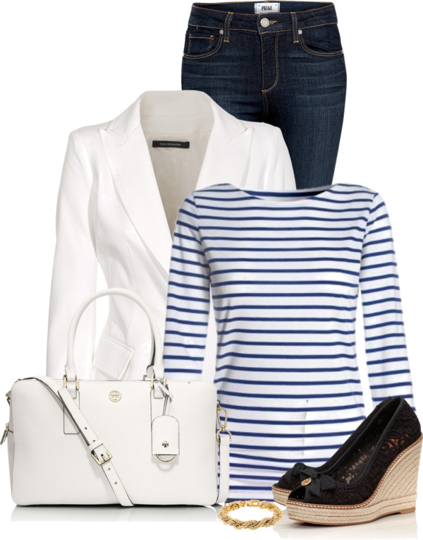 Classic Striped T-Shirt With Blazer Outfit outfitspedia