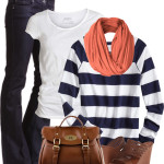 Coral and Navy Casual Spring Outfit