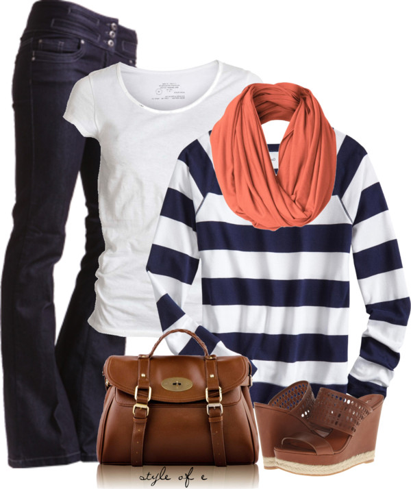 Coral and Navy Casual Spring Outfit outfitspedia