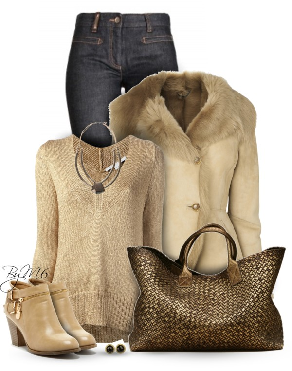 Cozy Cream Shearling Jacket Winter Outfit outfitspedia