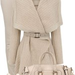 Cream Textured Drape Coat Fall Outfit