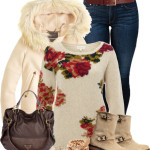 Cute Floral Jumper Winter Outfit