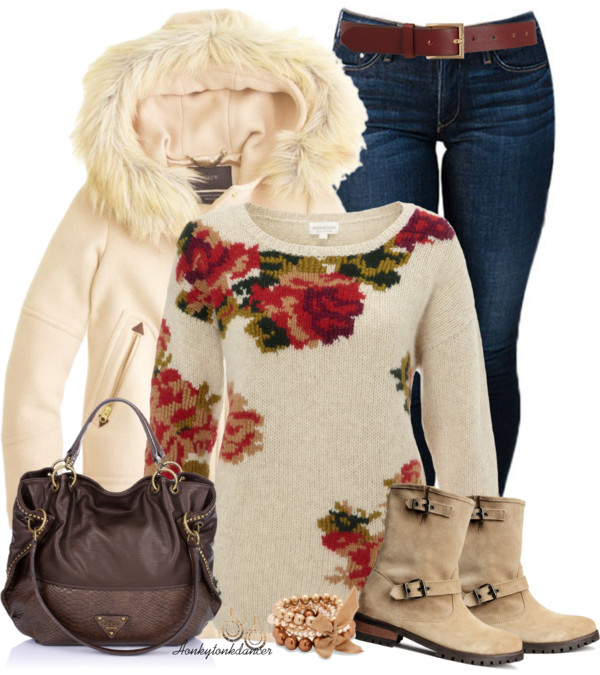 Cute Floral Jumper Winter Outfit outfitspedia