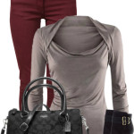Draped Collar T-Shirt Casual Outfit