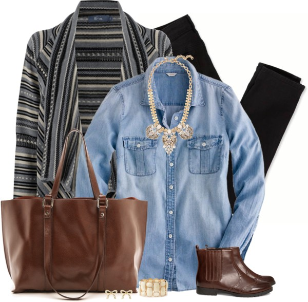 Fairisle Cardigan Casual Fall Outfit outfitspedia