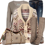 Fairisle Printed Cardigan Fall Outfit