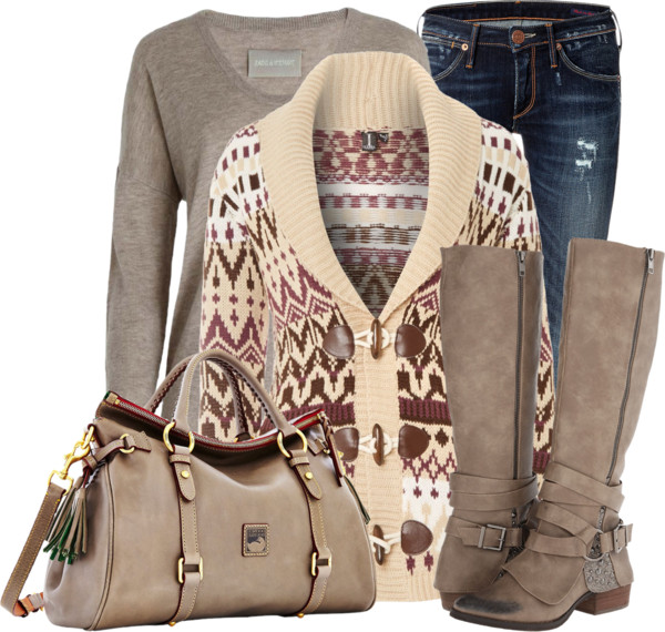 Fairisle Printed Cardigan Fall Outfit outfitspedia