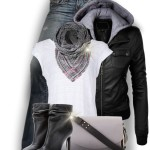 Faux Leather Jacket Hoodie Casual Fall Outfit