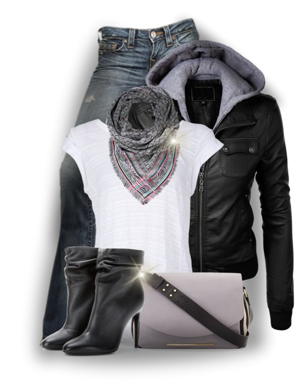 Faux Leather Jacket Hoodie Casual Fall Outfit outfitspedia