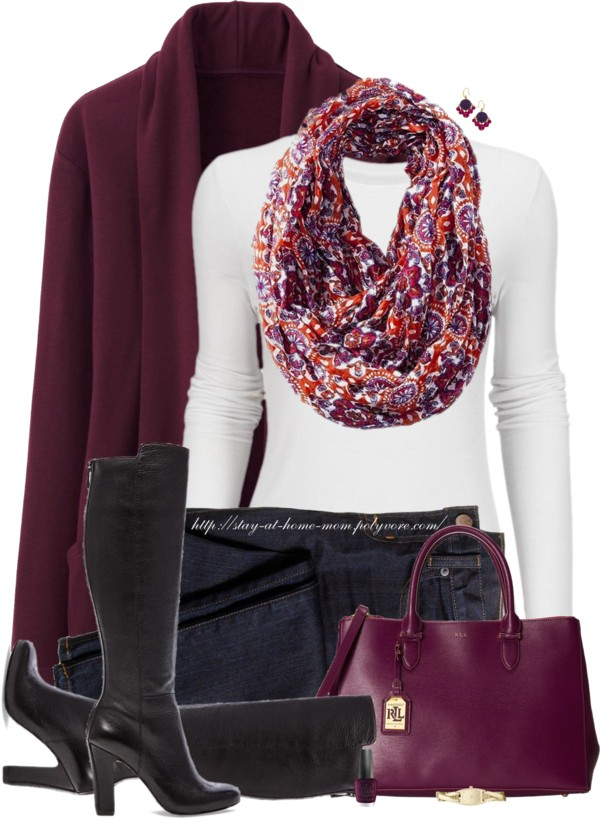 Floral Infinity Scarf Casual Fall Outfit outfitspedia