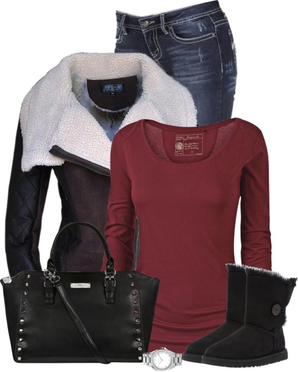 Fur Collar Jacket With Ugg Boots Fall Outfit outfitspedia