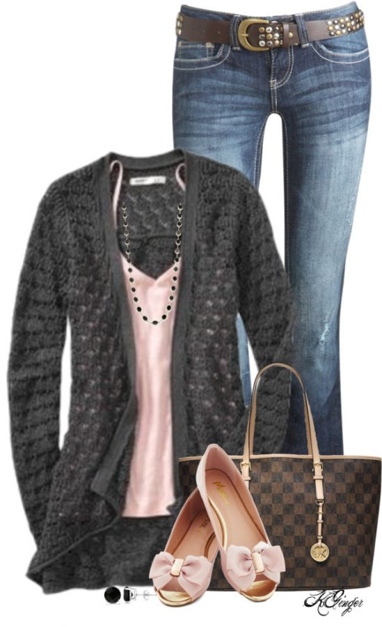 Gray and Pink Casual Spring Outfit outfitspedia